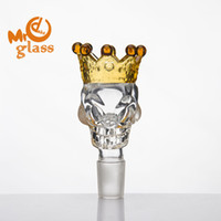 BIG Size Skull Style Herb Holder With Crown Glass Bowl Glass...