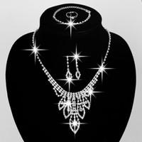 Bijoux de mariée de haute qualité Set Accessoires de mariage Collier Boucles d'oreilles Bracelet Bague avec strass Bidal Bijoux de bijoux # BW-JS008