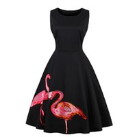Women' s 1950s Vintage Flamingo Embroidery Midi Dress Sl...