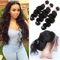 Pre Plucked 360 Lace Frontal Closure With Bundles Brazilian ...