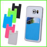 Ultra-mince coloré carte de crédit auto-adhésif Wallet Card Set Porte-cartes pour les téléphones intelligents pour iPhone 7 6S Sumsung S8