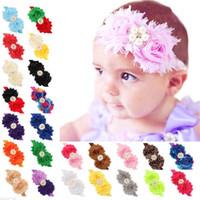 Recién nacido bebé diademas grandes flores infantes elásticos bandas de gasa shabby tejido Hairbands Chicas niños Rhinestone Accesorios para el cabello KHA97
