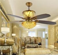 Fernbedienung Deckenventilator Kristall Ventilator Licht 52 Zoll Luxus  Dekoration Restaurant Wohnzimmer Hall Crystal Fans LED