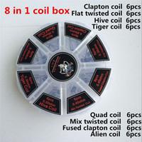8 in 1 Iblis Katil Bobinleri Prebuilt Clapton Kutusu Kiti Quad Kaplan Hive Alien Sigortalı Clapton Mix Twisted Isıtma Teller Nikrom Direnci Tel