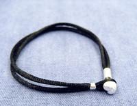 سوار الحبل النسيج الأسود مع قفل القلب فضة الاسترليني يناسب سحر المجوهرات الخرز الأوروبي نمط باندورا
