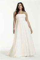 Strapless 쉬폰 제국 허리 플러스 사이즈 웨딩 드레스 9V9743 Applique 레이스 구슬 28W 신부 가운 사용자 정의 제작