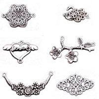 200 pcs antique silver plated filigree flower infinity conne...