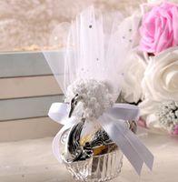 Romatic Swan Wedding Party Gift Candy Boxes Eleganckie Favor Rocznicowe Uroczystości Słodkie Czekoladowe Okładki Box Decoration Gold Silver