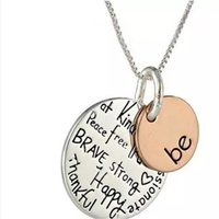 "2017 Fashion Two- Tone "" Be"" Graffiti Charm Necklace..."