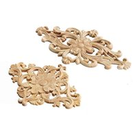 Wholesale  Modern Flower Pattern Wood Carved Unpainted Wood Oak Carved  Round Onlay Applique Plaques Furniture Home Decoration Two Size