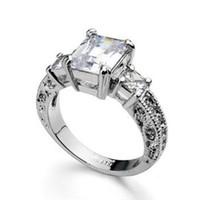 3ct الزمرد قطع الماس هالو الصلبة ريال 14 كيلو الذهب الأبيض مثبت خاتم الزواج
