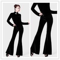 Autumn New Fashion Women's Plus Size 3xl Alto Cintura Velvet Flare Pantalones largos Pantalones de pierna ancha