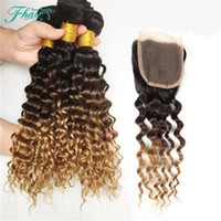 7A бразильский глубокая волна Ombre человеческих волос # 1B 4 27 Ombre волос ткать пучки с тремя тонами Ombre кружева закрытия 4 шт. Много