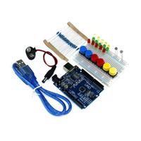 Toptan-Ücretsiz kargo yeni Başlangıç Kiti UNO R3 mini Breadboard LED jumper tel düğmesi arduino için uyumlu