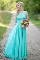 2021 Vestidos de dama de honra de turquesa vestidos barato colher de país chiffon chiffon comprimento lace v backless longa dama forma formal de vestido de honra para a noiva