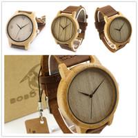 Relojes de pulsera de alta calidad para hombre Relojes de pulsera de bambú original de Japón reloj de los hombres de cuero bobobird 444