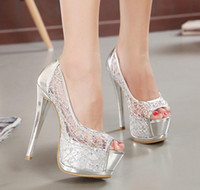 New Sexy Silver Gold Bridal Pumps Peep- Toe Glittering Stilet...