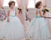 2019 Sheer Neck Crystals Applique Ball Gown Flower Girl Dres...