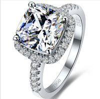 Heißer verkauf top marke stil 3 karat prinzessin schnitt kissenform sona synthetische diamant engagement oder hochzeitsring das beste jubiläumsgeschenk