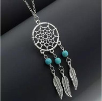Fashion Vintage Dream catcher Antique Silver Leaf Wing Charms Turquoise Beads Tassel Pendant Bohemia Jewelry Statement Long Chain Necklace