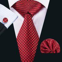 도매 남성 격자 무늬와 체크를위한 빨간 실크 넥타이 Wedding N-1607 넥타이 손수건 커프스 단추 선물 세트