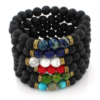 6 Designs Lava Rock Beads Charms Bracelets Women' s Esse...