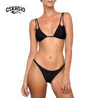 569191c02 Triângulo Sexy Micro Bikini Set Mulheres Push Up Tanga Swimwear Biquinis  Brasileiro Verão Desgaste Da Praia