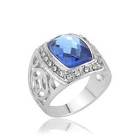 2016 Европейский и американский мода горячие полые резные стекла сплава кольцо покрытие платины ювелирные изделия женщины кольцо ювелирные изделия