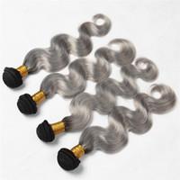 4Pcs grigio scuro Ombre estensioni dei capelli # 1B / Grey Body Wave 9A Brasiliani capelli umani vergini tesse prezzo poco costoso Ombre pacchi di capelli