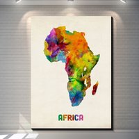 Vintage Watercolor map of Africa Pictures Painting Canvas Po...