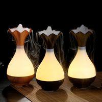 Nova chegada ! ! ! Umidificador em forma de vaso de LED ultra-sônica USB fabricante de névoa de aroma difusor purificador de ar Lonizer Atomizador noite lâmpada umidificadores