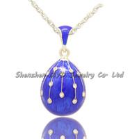 Las muchachas de la joyería de moda esmaltada a mano de estilo ruso del día de Pascua Faberge huevo colgante collar de las señoras con la cadena