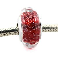 2016 Spring New Murano Glass Beads misura per i braccialetti Pandora 925 Sterling Silver rosso Shimmer charms Gioielli raffinati