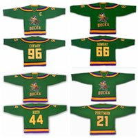 Anaheim Mighty Ducks Movie Jersey 1993-94 Ice Hockey 96 Charlie Conway 66  Gordon Bombay 21 dean portman 44 Reed Vintage Green 642abb94c