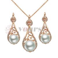 YourSFS 18K Rose Gold Plated Ladyhood Pearl Necklace och örhänge Använd österrikiska Crystal Bridal Smycken Set