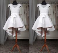 Robes de bal blanc courtes Pure Sheer Neck Cap manches Appliques dentelle Satin Custom Made High Low robes de bal Livraison rapide