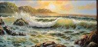 SUNSET ON ROCKY COAST, Free Shipping, Pure Hand- painted Seasca...