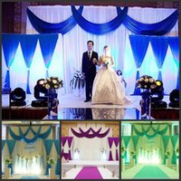 3*4m wedding party ice silk fabric drapery White blue Color ...