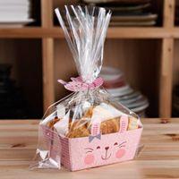 Lindo conejo translúcido plano superior abierto bolsa CakeCookie Wrappers, dulces, paquete (95set / lot 1set = 1bag +1 base de papel + Clip Tie)