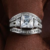 SZ5-11 Бесплатная доставка мода ювелирные изделия принцесса вырезать 10kt белого золота заполнены GF белый топаз CZ имитация алмазов свадьба леди женщин кольцо набор