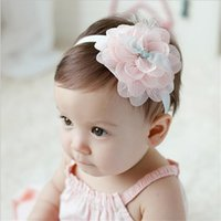 Baby Headbands Korean Flowers Chiffon Lace Elastic Headbands...