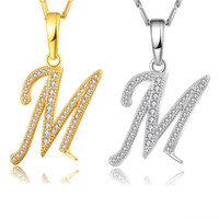 Capital Initial M Letter Necklace For Women Silver Gold Colo...