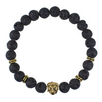 Beaded 8MM Lava stone beads 24K Gold Skull Elastic Bracelets...