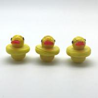 Tapas de carbohidratos de vidrio Pato amarillo estilo pato UFO con 25 mm OD para top plano Cuarzo Banger Nails Glass Dab Rigs tuberías agua Bongs