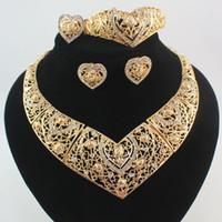 Африканские ювелирные наборы женщины 18K позолоченный Кристалл сердце ожерелье серьги браслет кольца свадьба ювелирные изделия