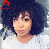Cabelo Humano Virgem Malaio Afro Crespo Encaracolado Curto Cabelo Dianteiro Do Laço Com Cabelo Natural 8A Grau Glueless Perucas Cheias Do Laço Para As Mulheres Negras