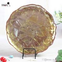 Heiliger 12inch preiswerter bester verkaufender Golddiamantentwurf für Hochzeit und Ereignisse 8pcs / ctn runde Abendessenaufladeeinheits-Glasplatten