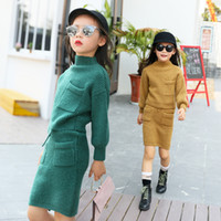 Wholesale- Girls clothing set autumn winter knit Sweater two...