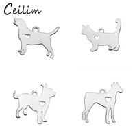 New Small Hollow Heart Dog Charms Animal Stainless Steel Met...
