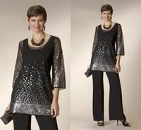 빛나는 검은 두 조각 신부 팬티의 어머니 스쿼시 긴 소매 웨딩 게스트 드레스 플러스 사이즈 이브닝 드레스 제작